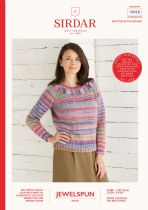 Sirdar Jewelspun Aran Knitting Pattern Booklet - 10028 Top Down Sweater